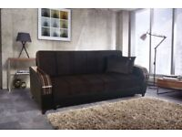 Brand New Talbot Fabric Storage Sofa Bed, Turkish Wooden Arms Leatherette Effect, Black Brown Cream