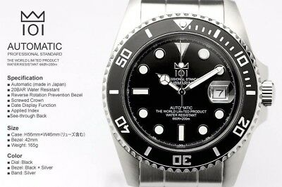 HYAKUICHI 101 Automatic Watch Black 200m Divers CITIZEN Movement Japan New