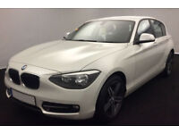 White BMW 118d 2.0 5 door 2013 Auto 72mpg 143bhp FROM £41 PER WEEK!