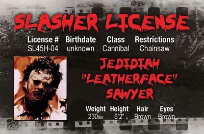 Texas Chainsaw Massacre LEATHERFACE Halloween costume id card Drivers License  - Texas Halloween