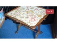Davrard walnut tapestry and glass games table