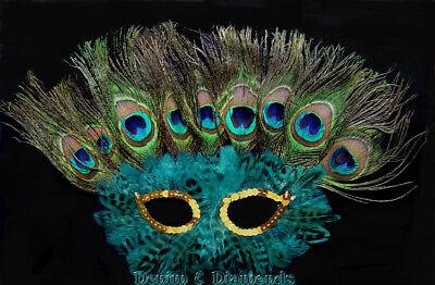 Teal Green Peacock Feather Sequin Eye Feather Half Mask Mardi Gras Carnival (Mardi Gras Peacock Mask)