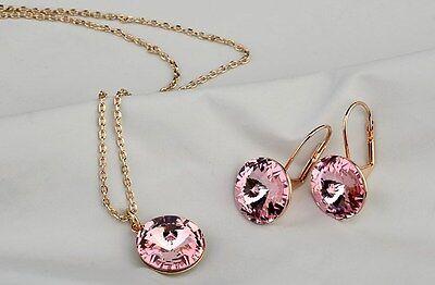 lusso Set Gioielli Collana & Orecchini oro rosa pl. cristallo festa della mamma