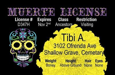 DAY OF THE DEAD el Dia de Los Muertos Halloween costume id card Drivers License