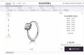 Pandora TIMELESS ELEGANCE RING - Size 60 (large)