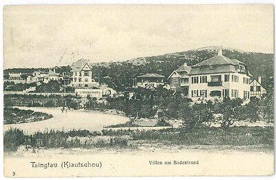 AK Tsingtau Kiautschou Qingdao 1908 Villen am Badestrand Prettin Hirschmühle RRR