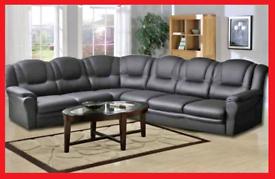 7 seater Black Eco Leather Corner Sofa,,