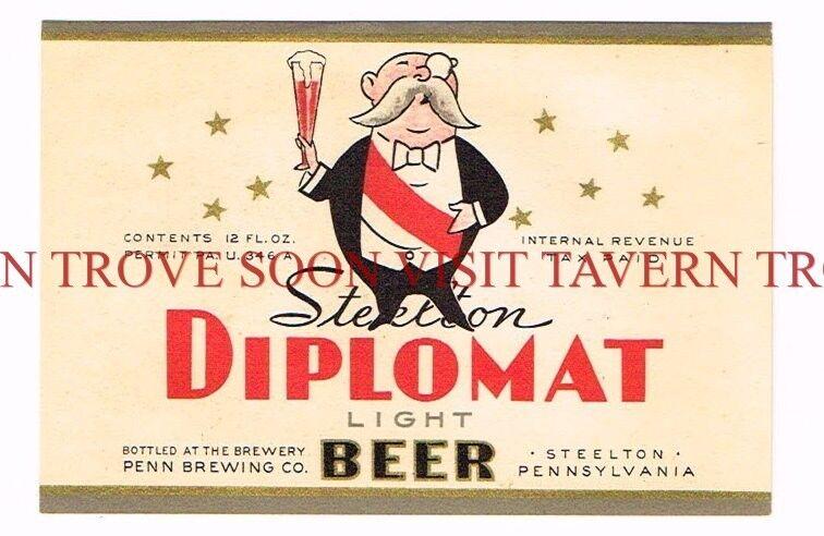 Unused 1930s U-Permit Diplomat Steelton Beer label Tavern Trove Pennsylvania