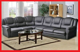 7 seater Black Eco Leather Corner Sofa