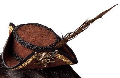 Mini Hut Haarband Kostüm Zubehör Karneval Erfinder (Damen Piraten Haar)