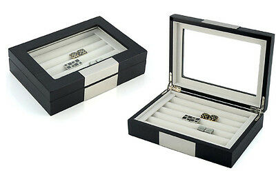 20 Cufflink Case Ring Storage Box Cuff Links Jewelry Wood Display - 412020