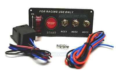 12V Car Ignition Engine Panel Switching Start Push Button Toggle Carbon Look