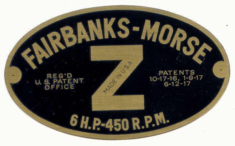 Fairbanks Morse 6 hp Z name plate reproduction