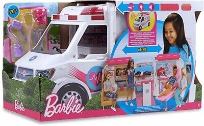 BARBIE CARE CLINIC VEHICLE Ambulance--Hospital PLAY SET + 20 of Pieces Equipment