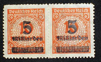 Deutsches Reich, Infla Abart, Plattenfehler Nr. 334 B ,  PF IV im Paar **