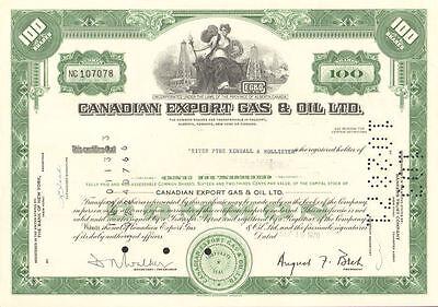 Canadian Export Gas & Oil Ltd. > 1970 Calgary Alberta Canada stock certificate