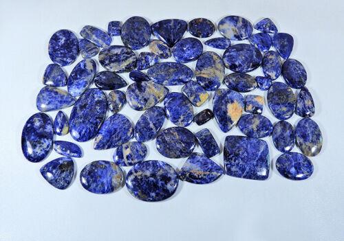 150Pcs NATURAL BLUE SODALITE MIX SHAPE CABOCHON LOOSE GEMSTONE 1Kg. LOT