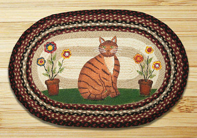 BRAIDED HAND STENCILED OVAL PATCH AREA RUG By EARTH RUGS--FOLK ART CAT ()