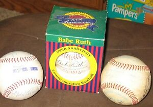 Three Collectible Baseballs - Babe ruth; Regina Cyclones; North