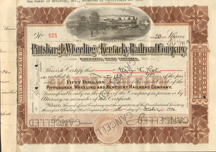 Stock issued to Henry K. List of Wheeling West Virginia