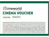 2 x Cineworld cinema ticket vouchers