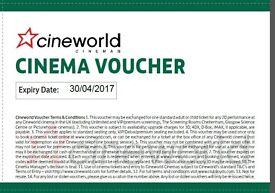 6 x £10 Cineworld cinema ticket vouchers