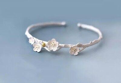 925 Sterlingsilber Damen Armband Armreif Kirschblüte Blüte Ast Silber Filigran