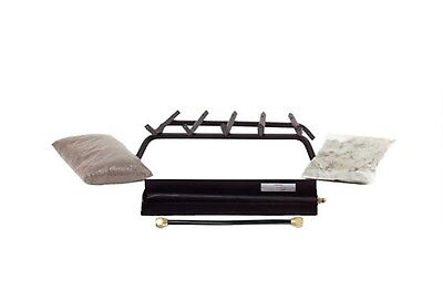 Fireplace Vented Gas Log 24  Natural Gas Burner Kit Grate  Burner  Embers New