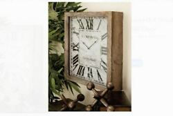 Square Rustic Wood Wall Clock Decor Weathered Farmhouse Kitchen Cabin Lake House