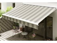 Awning for patio/garden - retractable - green and white