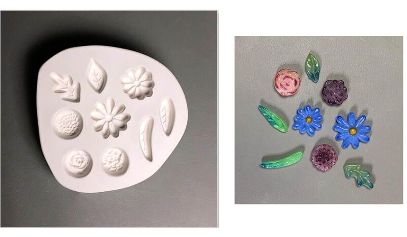 Small Leaves and Flowers LF201 Glass Fusing Mold Ceramic Creative Paradise