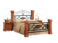 Double solid rubber-wood and medal bed its massive sales on summer 50%off