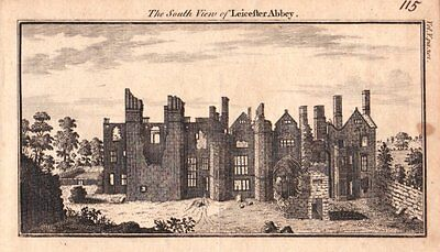 LEICESTERSHIRE LEICESTER ABBEY Original Antique Copper Engraved Print 1770