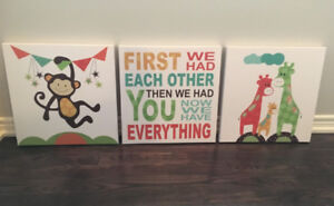 3pc Canvas Set for Baby's Room