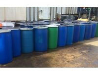 220 Litre plastic wide mouth shipping barrel storage drums £25 each