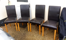 Table and 4 faux leather chairs (plus 2 similar for FREE)
