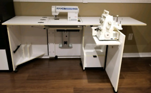 Sewing / serger machine cabinet extendable