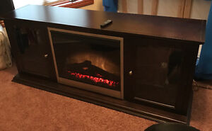 Solid Wood Fireplace Entertainment Unit