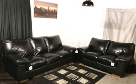 ' New ex display Dfs black real leather 3+2 seater sofas