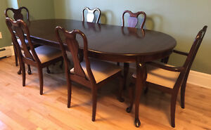 Gibbard Canadian Legacy Mahogany Round Extension Table 6 Chairs
