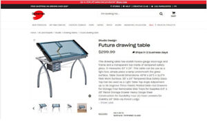 Glass top drawing table with adjustable height stool