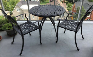 CAST ALUMINUM PATIO OUTDOOR DINING SET 4 CHAIRS 2 TABLES
