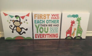 Cute Children's 3 Piece Canvas Set