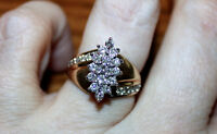 Over .90 ctw Diamond Cluster Ring Appraised, $2000.00