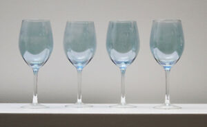 Set of Four Matching Blue Mirrored Wine Glasses