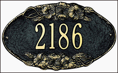 Whitehall Pansy Oval Personalized Address Plaque Sign Marker - 17 Color Choices ()