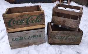Caisse Boite en bois pomme coke Antiquité Brocante