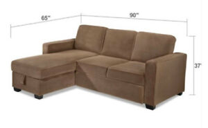 Brown Chaise Sofa Couch with King Size Pop-Up Sleeper Bed