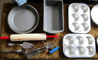 Baking Lot, Kitchen, Cabin Pans, bowls spoons lifter rolling pin