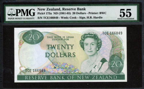 New Zealand 1981-1985, 20 Dollars, P173a, PMG 55 AUNC